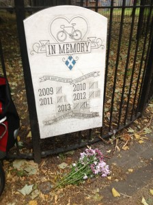 Updated memorial to all the cyclists killed on Scotland's roads in the last five years