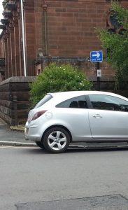 car parked on corner