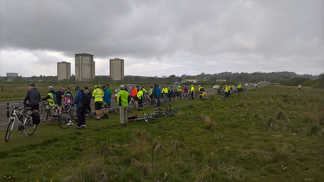 Cyclists at the start in Aberdeen