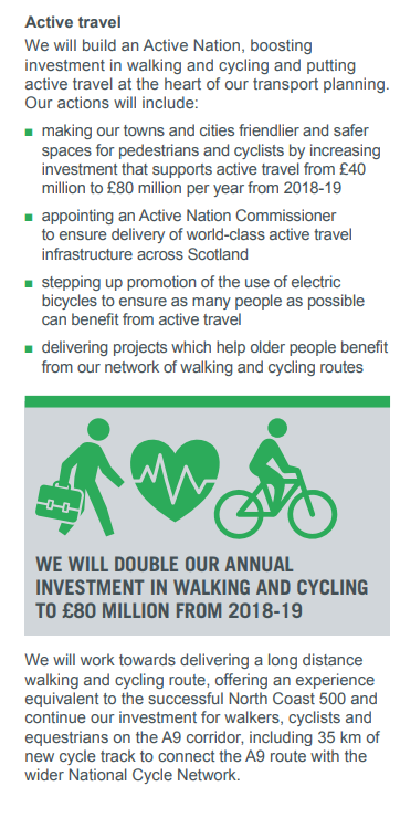 Programme for government announcement on Active Travel