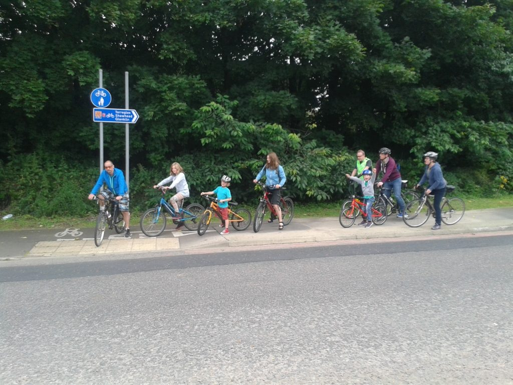 cyclists waiting to cross