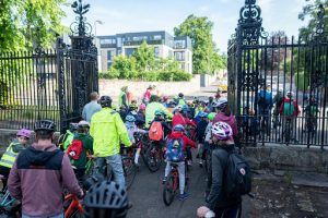 bike bus going through the gates