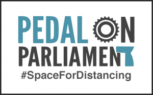 Pedal on Parliament logo with #SpaceForDistancing