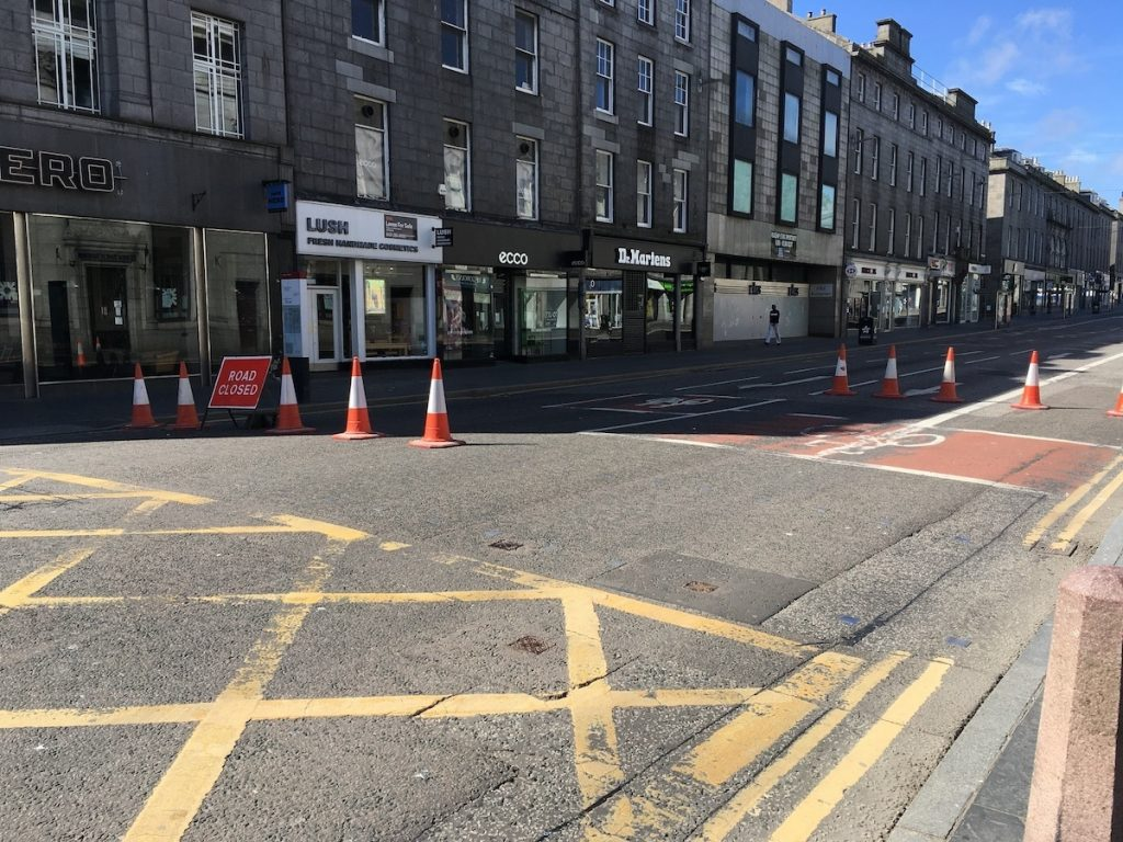 Union Street closure in Aberdeen