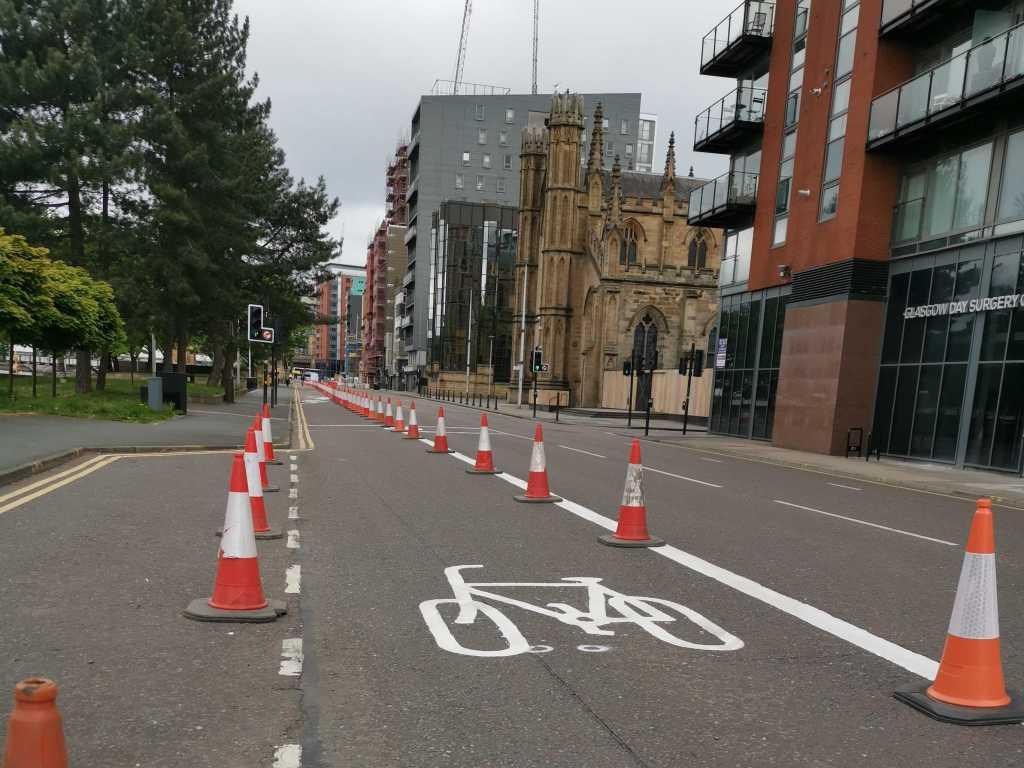 Temporary cycle lane on Clyde Street