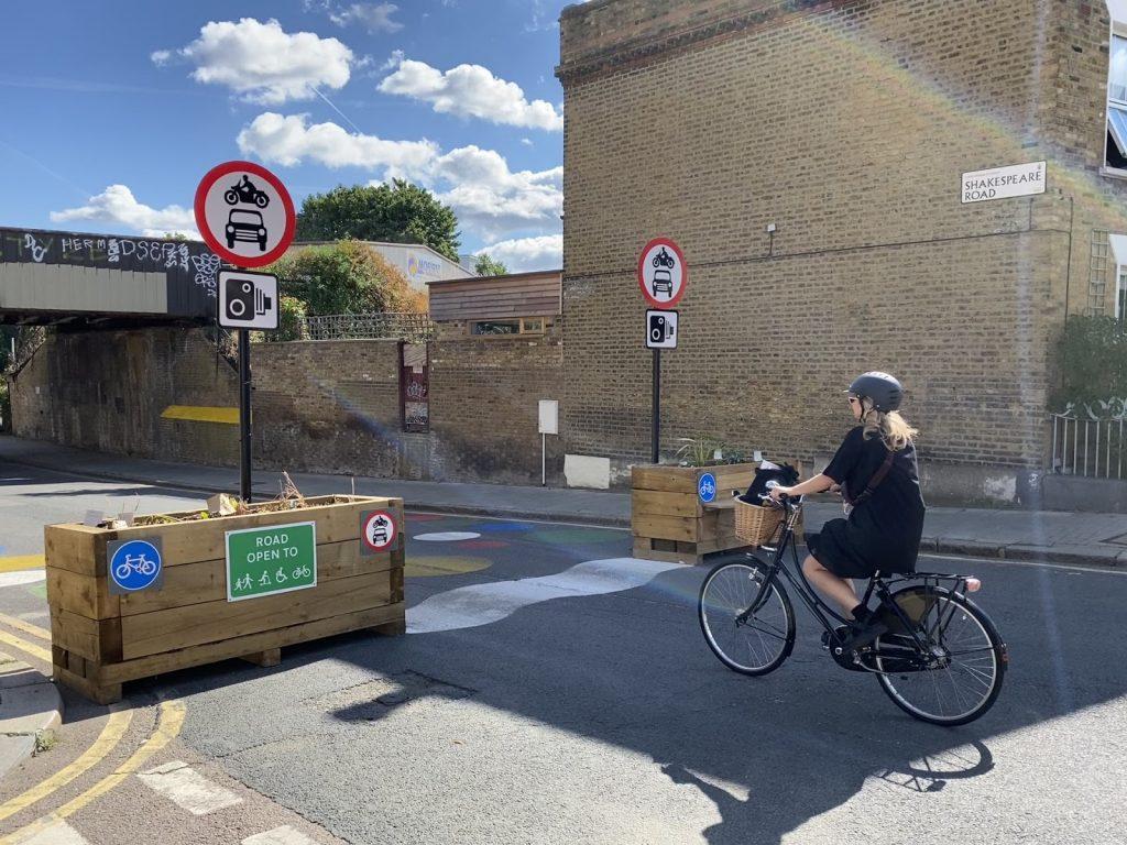 Cyclist entering a low-traffic neighbourhood