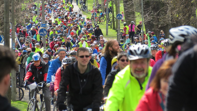 large crowd of cyclists at POP