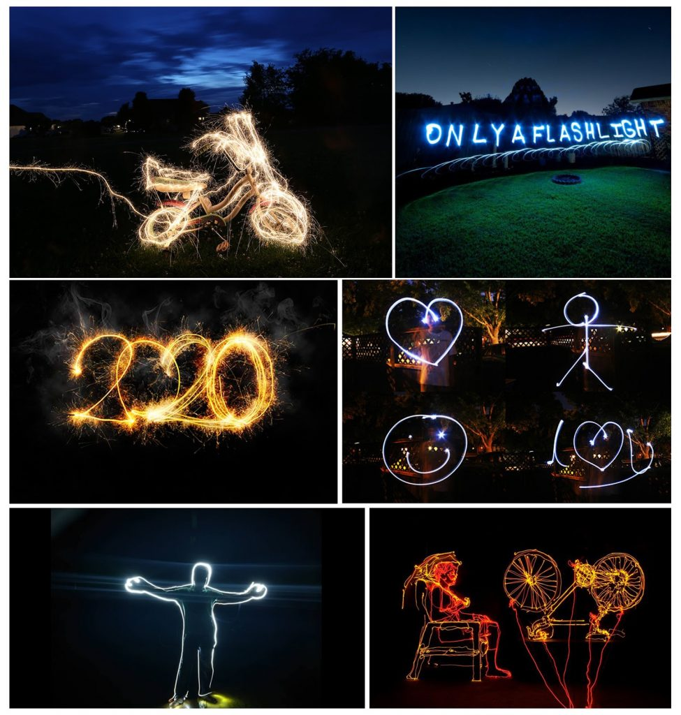 Montage of long-exposure light photographs