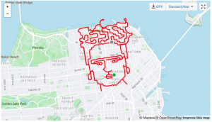 Image drawn using a GPS trace on a map