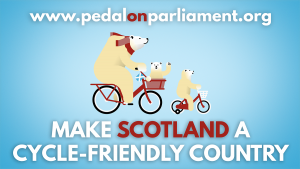 Polar bear family cycling with 'make Scotland a cycle-friendly country'