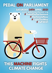 POP poster with polar bear and a bike and 'this machine fights climate change'