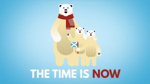 Polar bear family with 'the time is now' caption