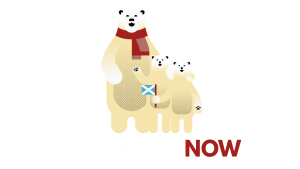 Polar bear family with 'the time is now' caption - transparent background