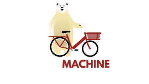 Polar bear and bike with 'This machine fights climate change' with a transparent background