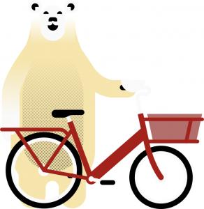 Polar bear with bike