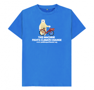 This machine fights climate change message on a blue tshirt