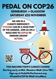 Pedal on COP26 Edinburgh to Glasgow feeder ride poster